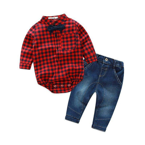 Plaid Onesie and Jeans Outfit Set