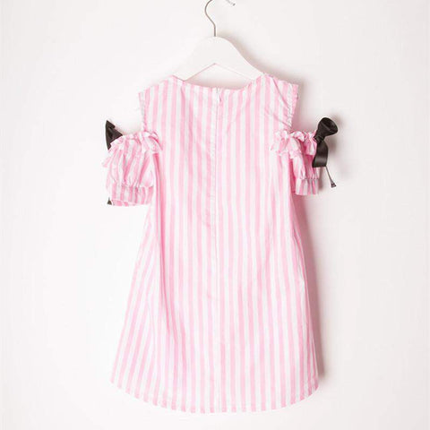 Sami off the shoulder striped bow dress