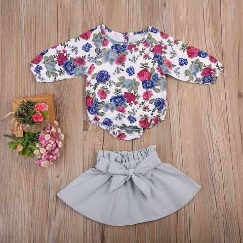 Floral Shirt & Skirt Set