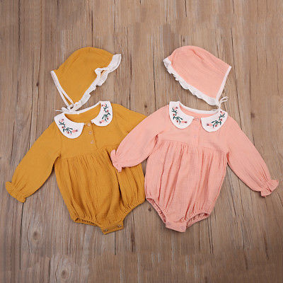 Little G Embroidered Sunsuit and Bonnet Set (more colors)