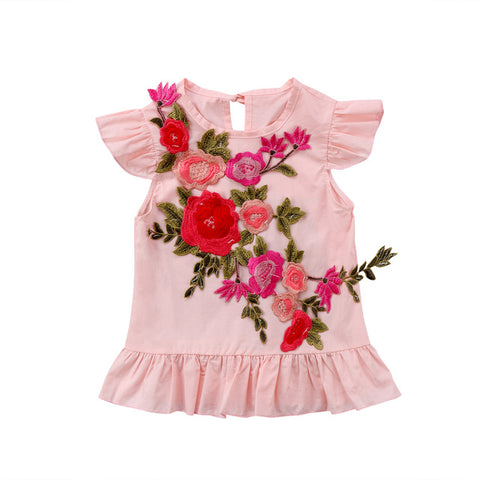 Peonies & Poppies Embroidered Dress