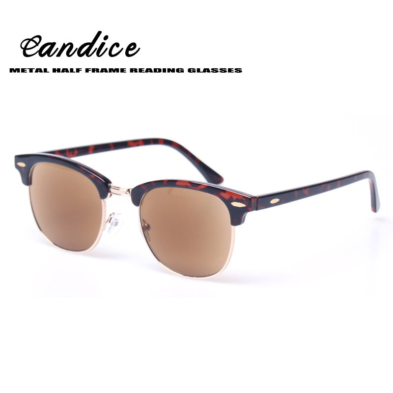 Reading Glasses Fashion Metal Half Frame Readers Retro Round Frame Men and Women Eyewears Include Sunglasses readers Sun Glasses