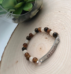 Mixed Tiger and Crackle Stretch Bead Bracelet