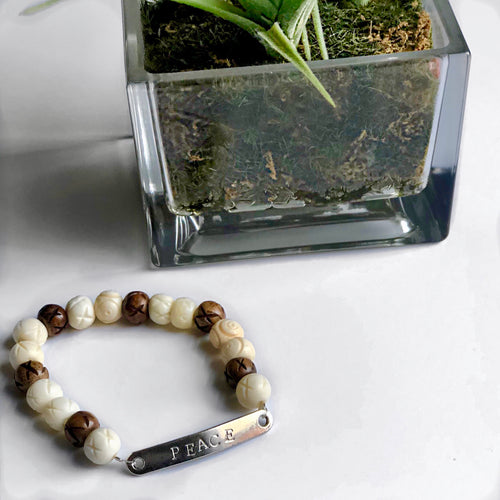 Men's Mixed Bone Stretch Bead Bracelet