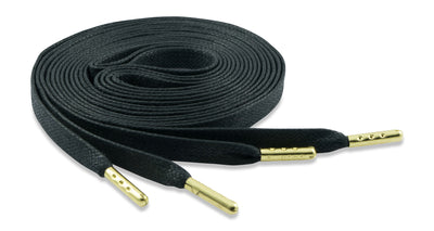 Flat Waxed Athletic Shoelaces - Black with Gold Tips