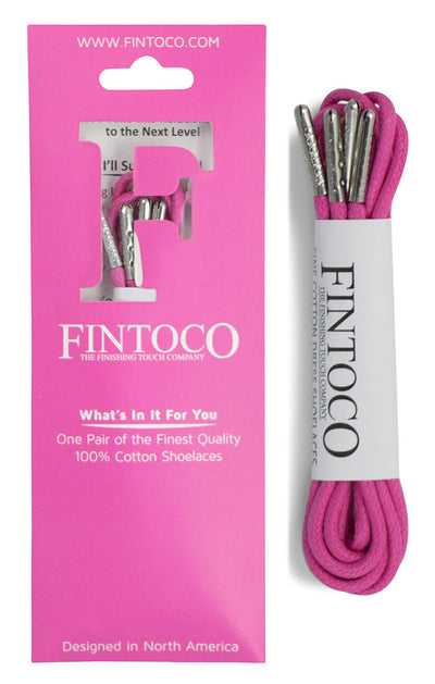 Hot Pink Waxed Dress Shoelaces with Metal Tips