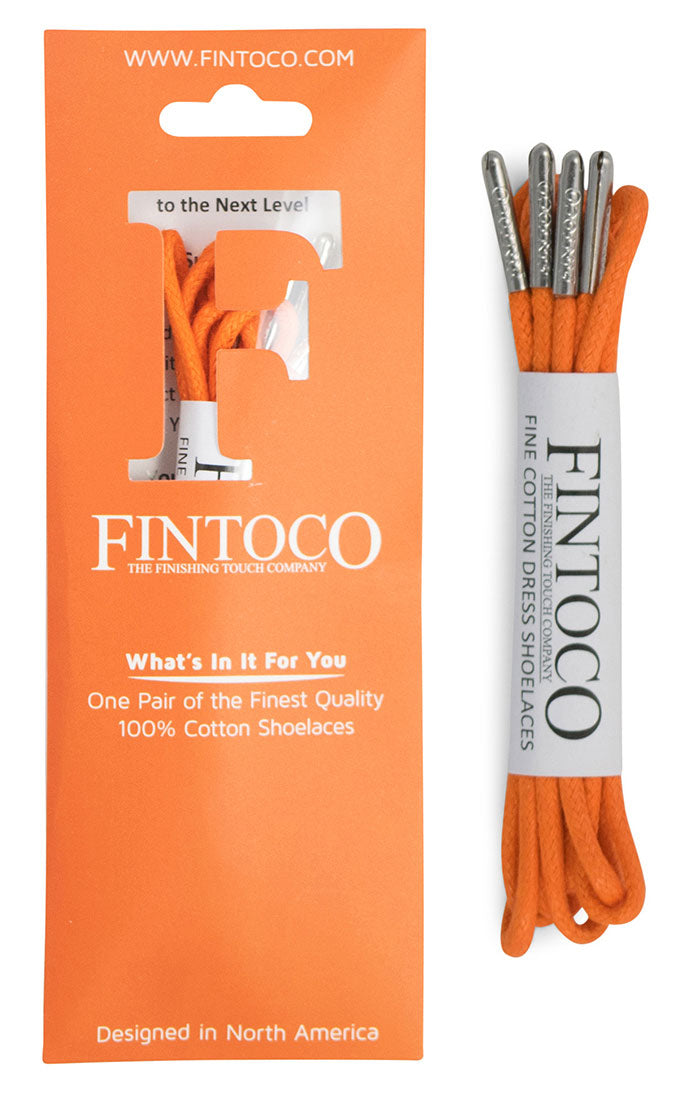 Intense Orange Waxed Dress Shoelaces with Metal Tips