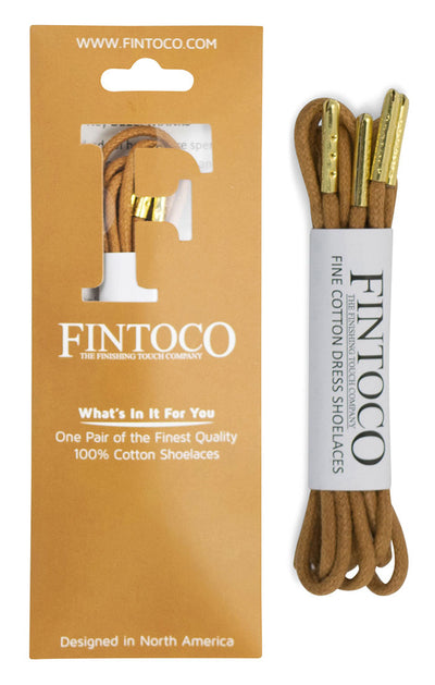 Tan Waxed Dress Shoelaces with Metal Tips