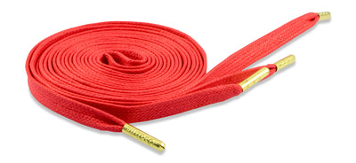 Flat Waxed Athletic Shoelaces - Red with Gold Tips