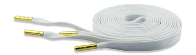 Flat Waxed Athletic Shoelaces - White with Gold Tips