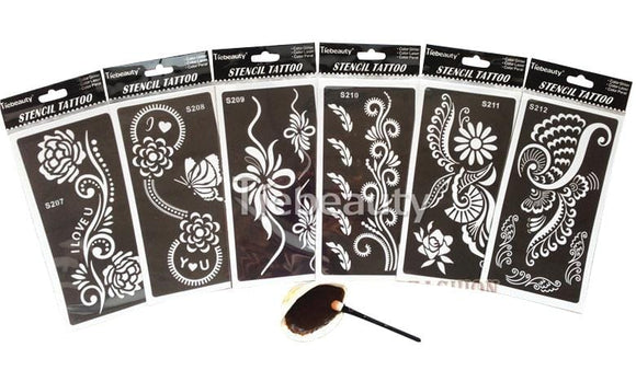 Reuseable Henna Tattoo Stencil 6pcs - Arabic Sticker For Sale | Muslimaqueen