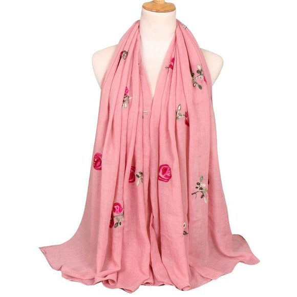 Fateena Vintage Embroidered Scarf - Beautiful Hijab Accessories | Muslimaqueen