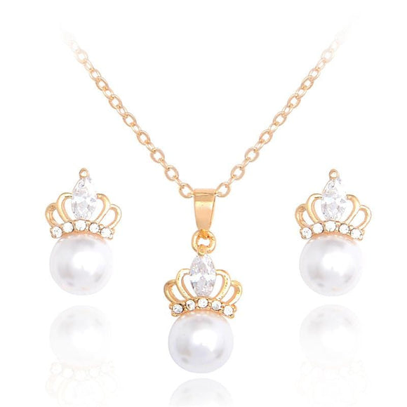 Queen Simulated Pearl Jewelry Set - Arabic Bridal Accessories | Muslima