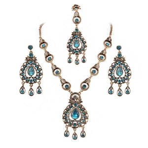 Ellyn Blue Crystal Jewelry Set  - Beautiful Hijab Accessories | Muslimaqueen