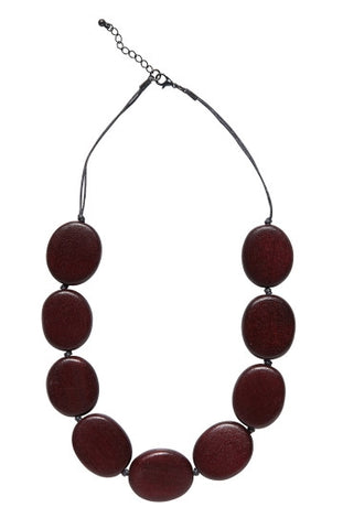 Flat Round Disc Necklace - Sable