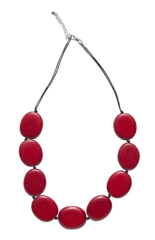 Flat Round Disc Necklace - Red
