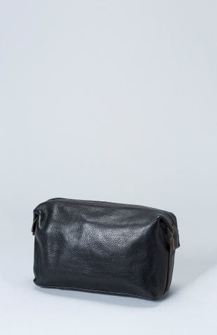 Reizen Leather Wash Bag - Black