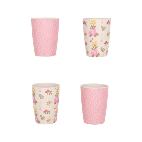 Love Mae Bamboo Tumbler set - Floral and Pink