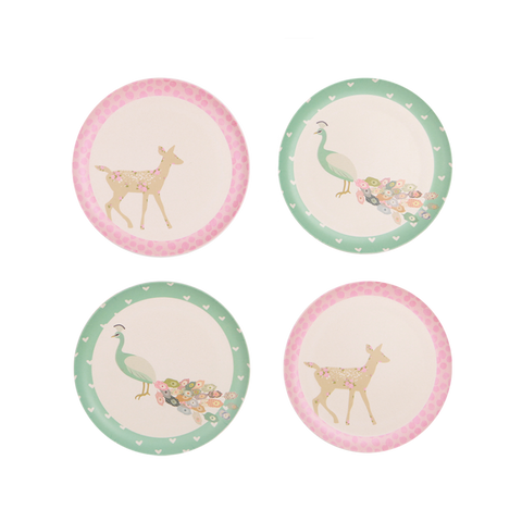 Love Mae 4pk Plates - Peacock and Doe