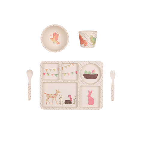 Love Mae 5 Piece Bamboo Dinnerset - Woodland Tea Party