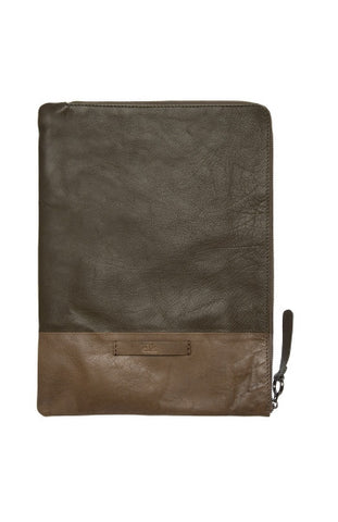 Farun Document Case - Camo/ Burnt Tan