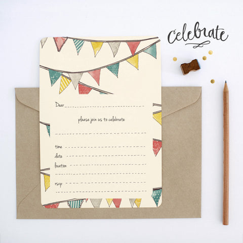 An April Idea Invitations - Bunting