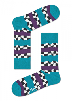 Checkered Stripe Sock Turquoise