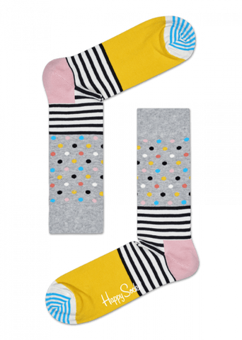 Stripe Dot Sock Grey