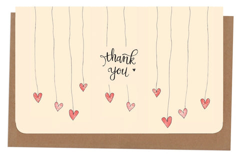 An April Idea Card Thank you - Love Hearts 10 Pack
