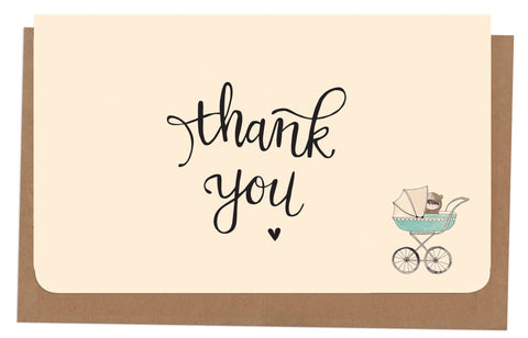 An April Idea Card Thank you - Blue Pram 10 Pack