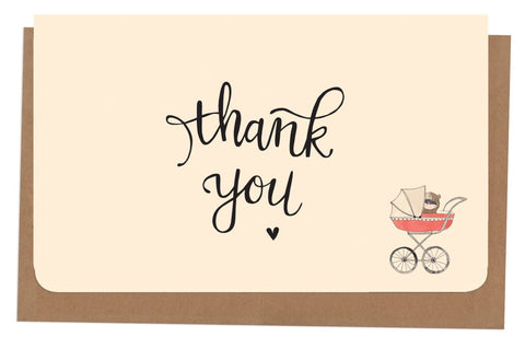 An April Idea Card Thank you - Pink Pram 10 Pack