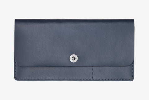 Leather Travel Wallet - Navy