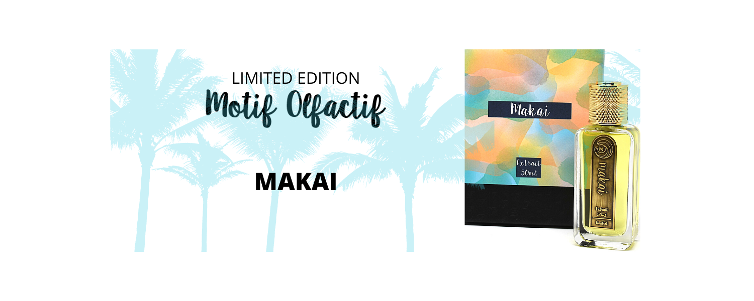 Image of Makai Limited Edition artisan perfume by Motif Olfactif at AVÉ PARFUM box and bottle with palm trees in background
