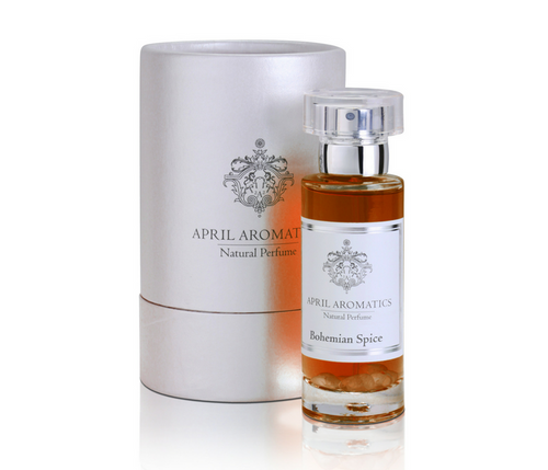 Bohemian Spice bottle with cylinder white box by April Aromatics - Organic Perfume - AVÉ PARFUM