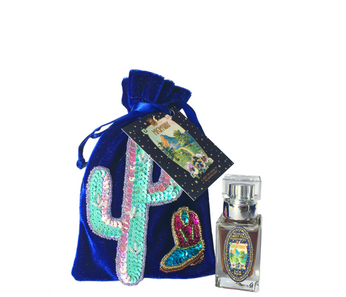 Highway 15ml bottle by Velvet & Sweet Pea's Purrfumery blue velvet pouch velvet collection with sequins