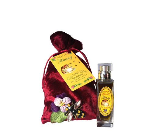 Honey Eau de parfum by Velvet & sweet Pea's Purrfumery Velvet Collection red velvet pouch adorned with pansy and bee natural perfume rectangular bottle