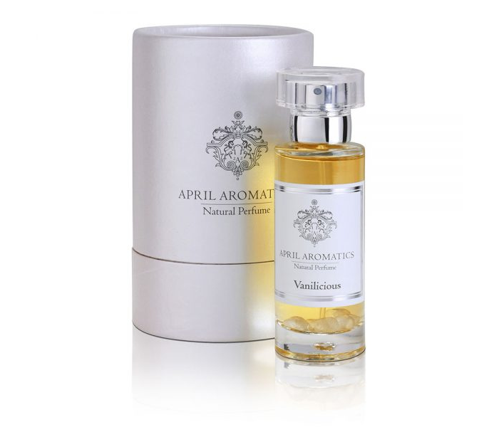 Vanilicious by April Aromatics natural organic perfume white cylinder box full size bottle with clear round cap