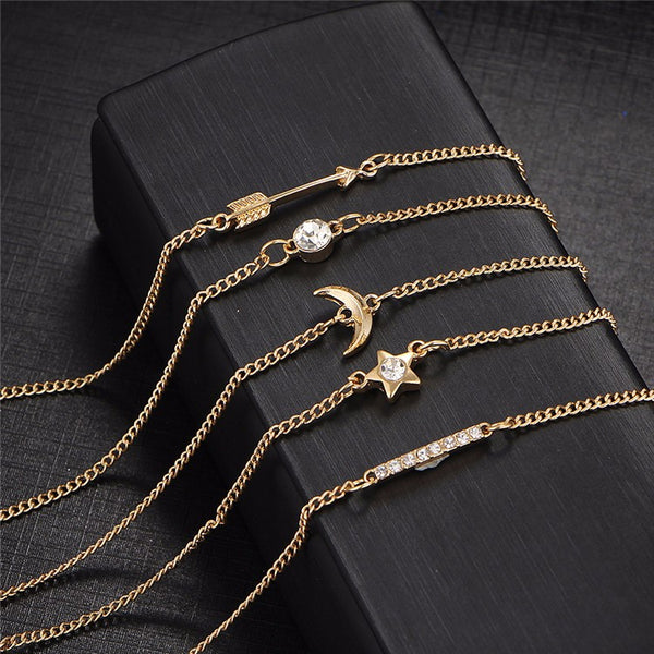 5 Piece Gold Bracelets Set