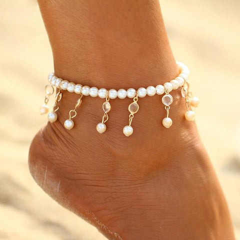 Beaded Pearls Anklet