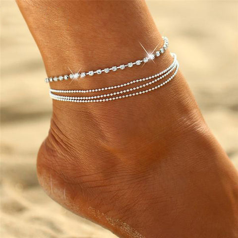 Layered Crystal Chain Anklet