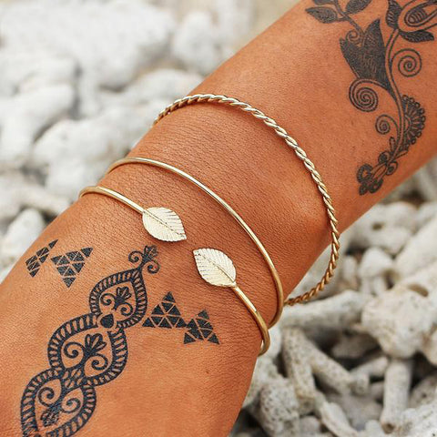 Small Leaves Bracelets Set