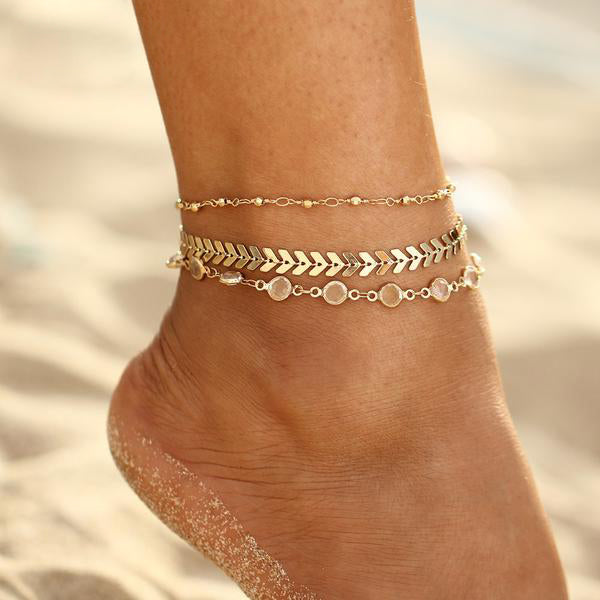 3 Layer Fishbone Anklet