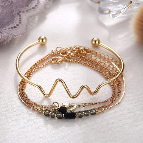 4 Layer Gold Bracelets Set