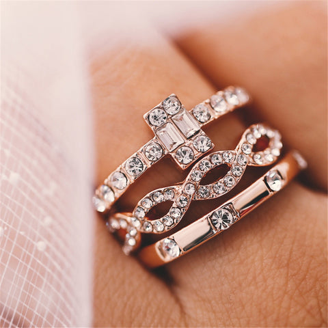 3 Piece Gold Rings Set