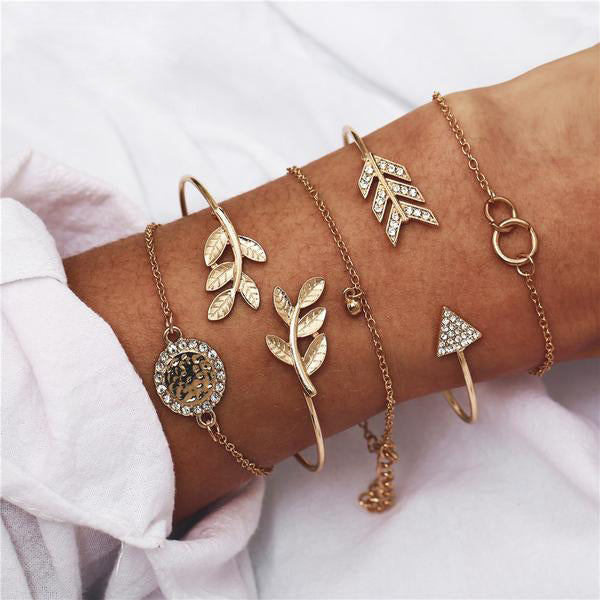Gold Leaves Bracelets Set