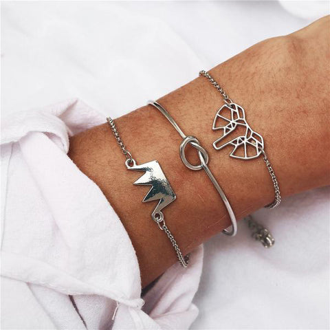 Silver Crown Bracelets Set