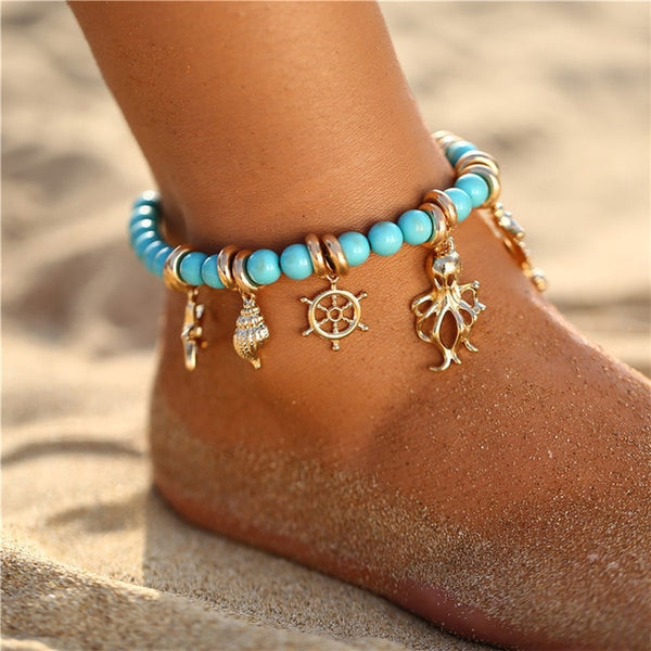 Blue Beads Anklet