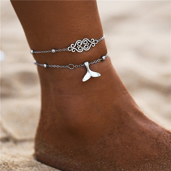 Multilayer Vintage Pendant Anklet