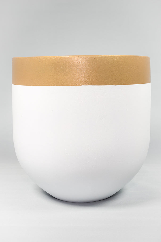 On the Side Pots White & Gold Trim concrete pot