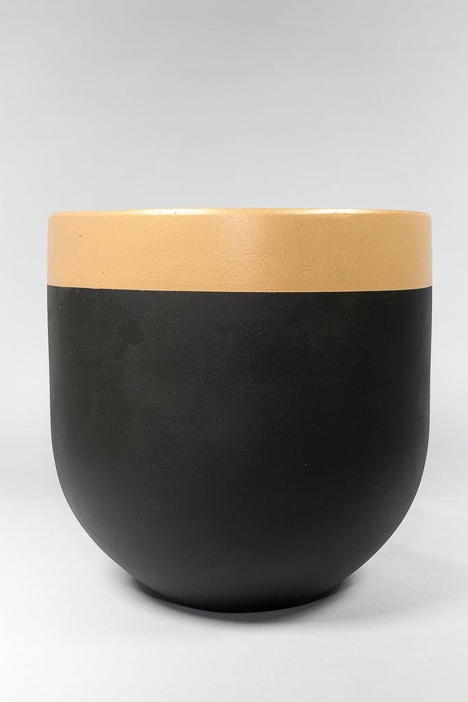 On the Side Pots Black & Gold Trim concrete pot